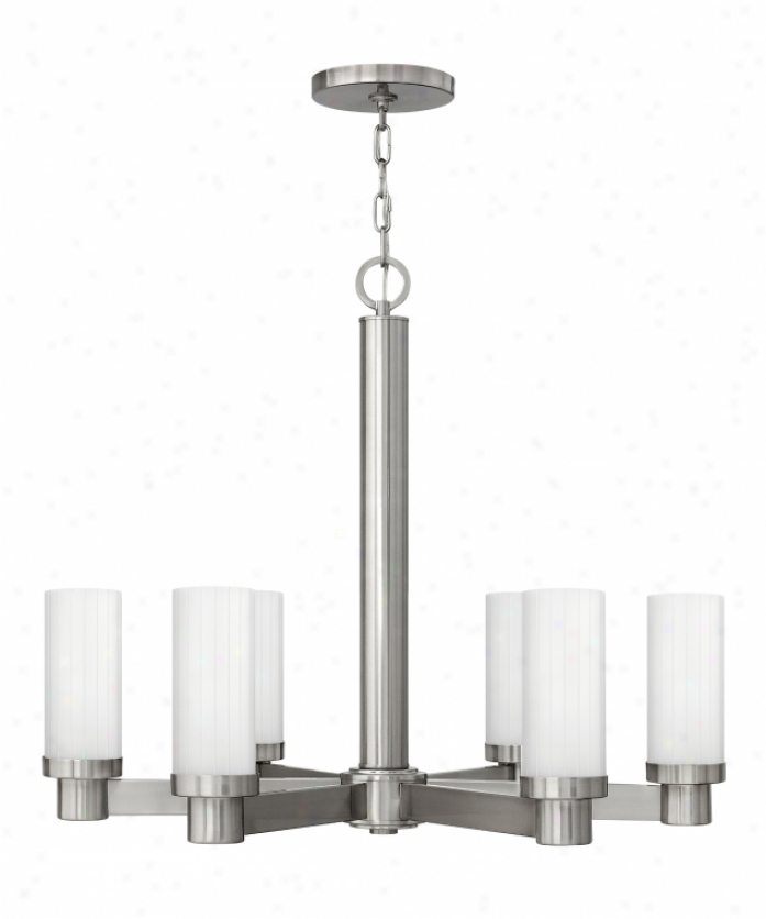 Hinkley Lighting 4976bn Midtown 6 Light Single Tier Chandelier In Brushed Nickwl With Multi-faceted Etched Glass
