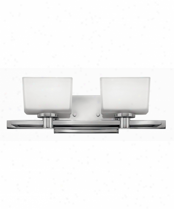 Hinkley Lighting 5022cm Taylor 2 Light Bath Vanity Light In Chrome With Inside Painted White-outside Etched Glass