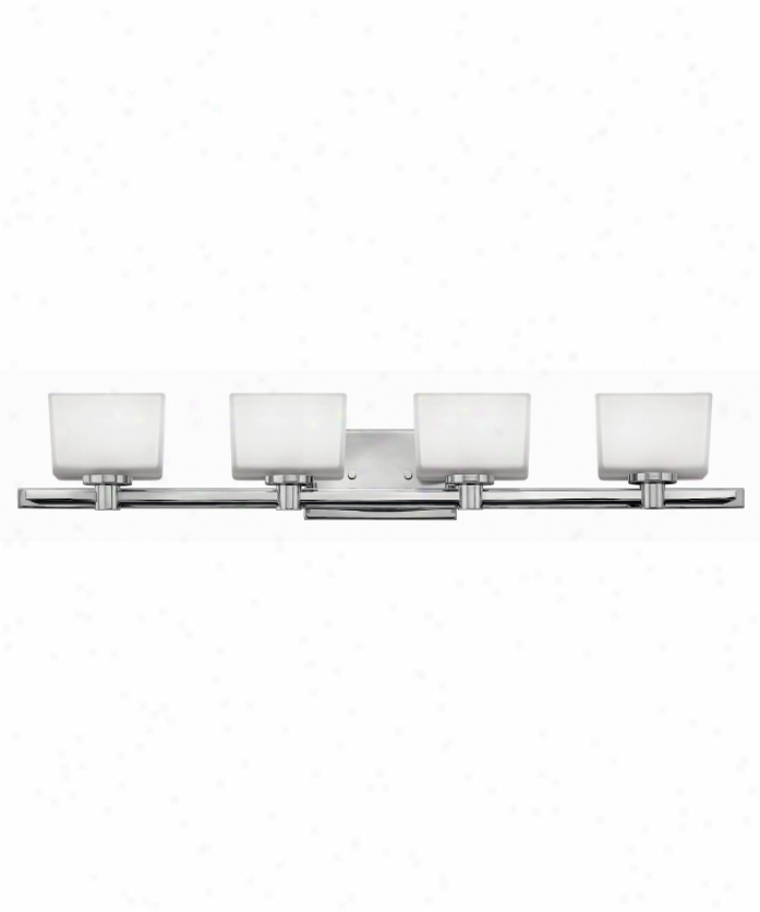 Hinkley Lighting 5024cm Taylor 4 Daybreak Bath Vanity Light In Chrome With Inside Painted White-outside Etched Glass