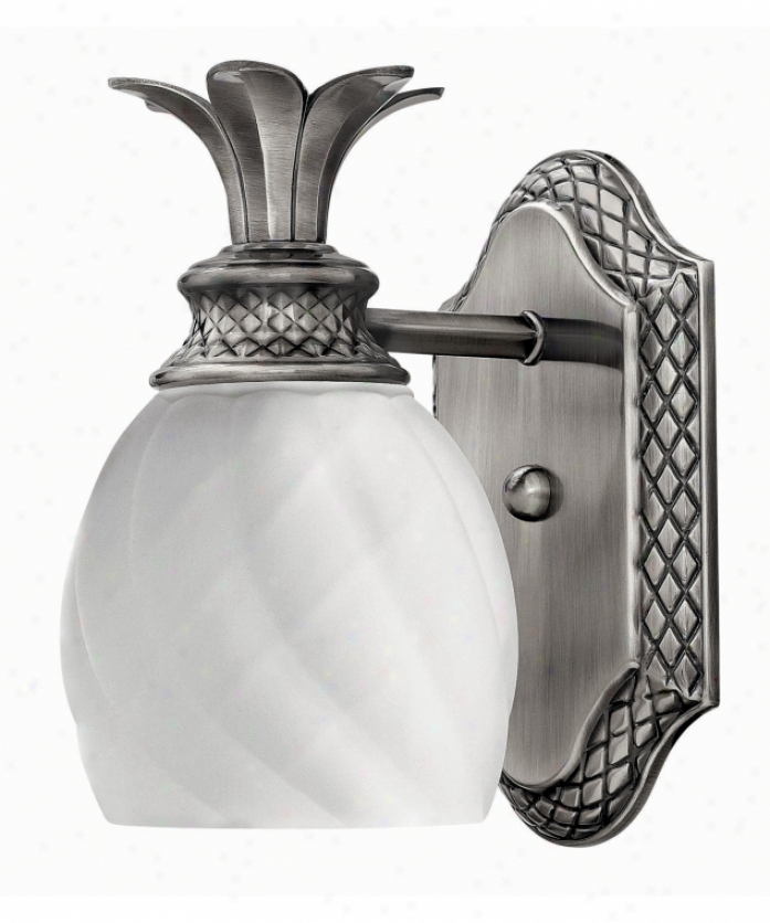 Hinkley Lighting 5330pl Plantation 1 Light Wall Sconce In Polished Old Nickel Upon Inside Etched Optic Glass