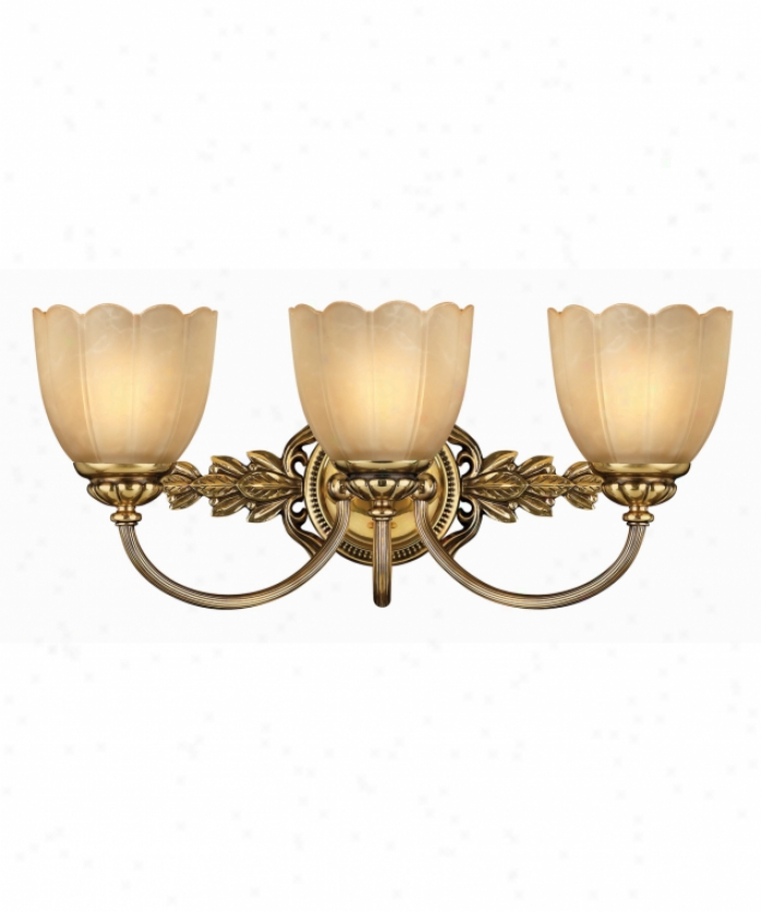 Hinkley Lighting 5393bb Isabella 3 Light Bath Idle show Light In Burnished Brass With Etched Amber Scavo Stone Glass