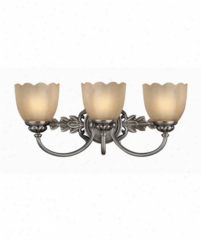 Hinkley Lighting 5393pl Isabella 3 Light Bath Vanity Litht In Classic Antique Nickel With Etched Amber Scavo Stone Glass