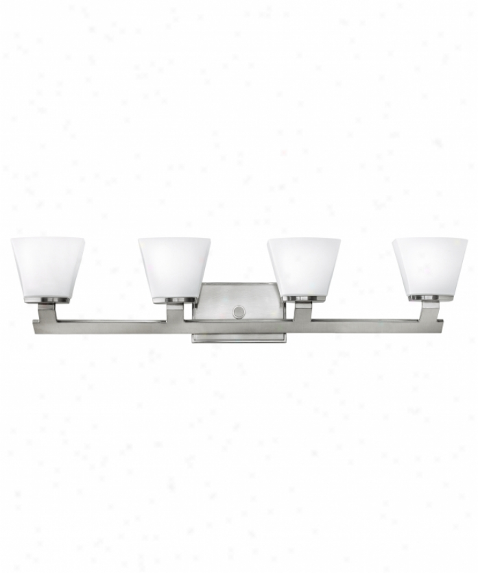 Hinkley Lighting 5504bn Nico 4 Light Bath Vanity Light In Brushed Nickel With Etched Opal Tapered Rectangular Glass