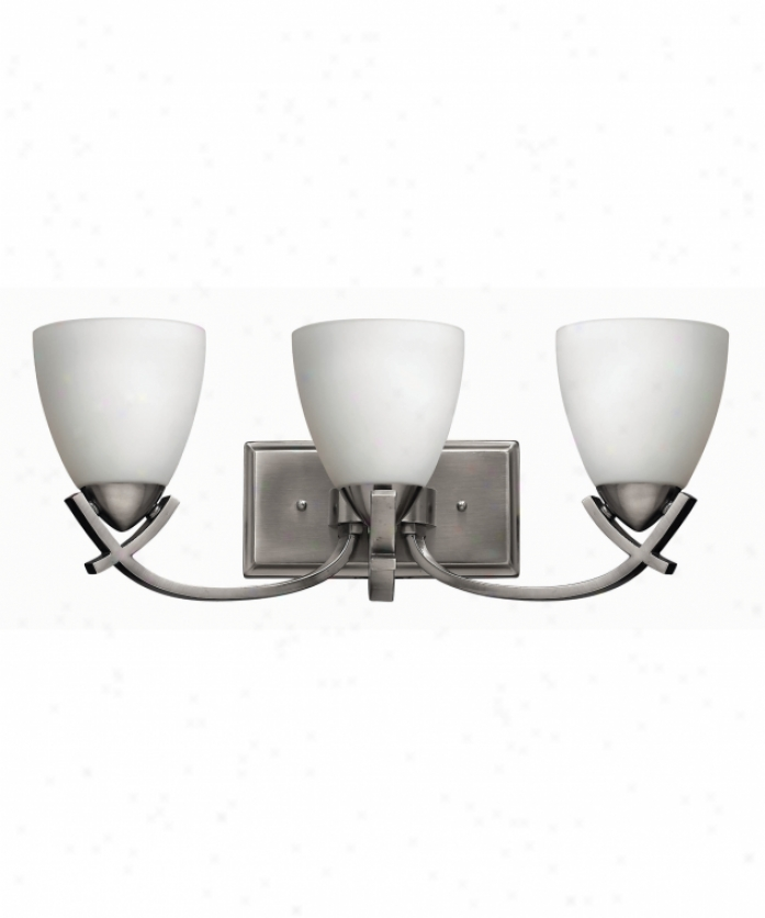 Hinkley Lighting 5573pl Soho 3 Light Bath Vanity Light In Polished Antique Nickel With Etched Opal Glass