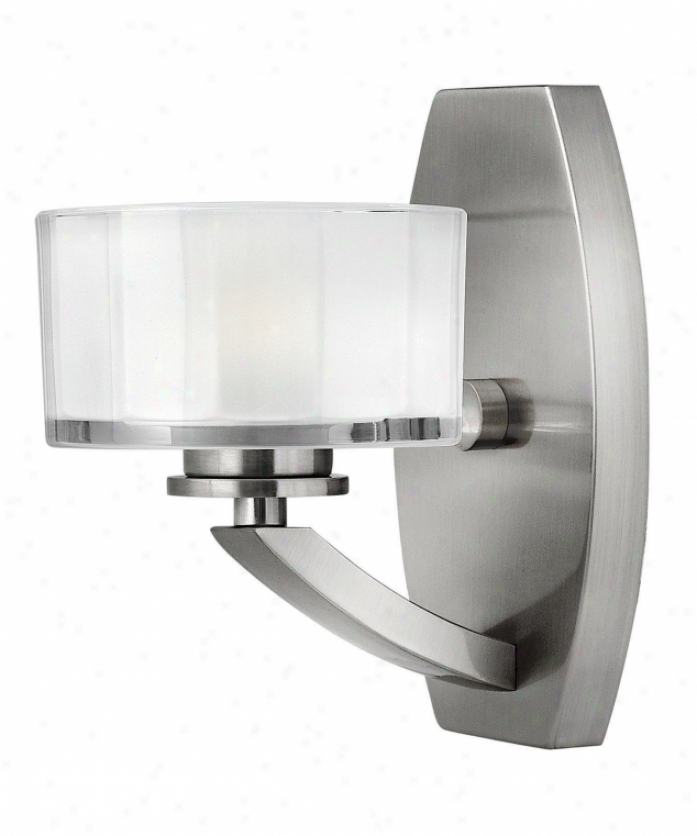 Hinkley Lighting 5590bn Meridian 1 Light Wall Sconce In Brushed Nickel With Faceted Clear Inside Etched Glass