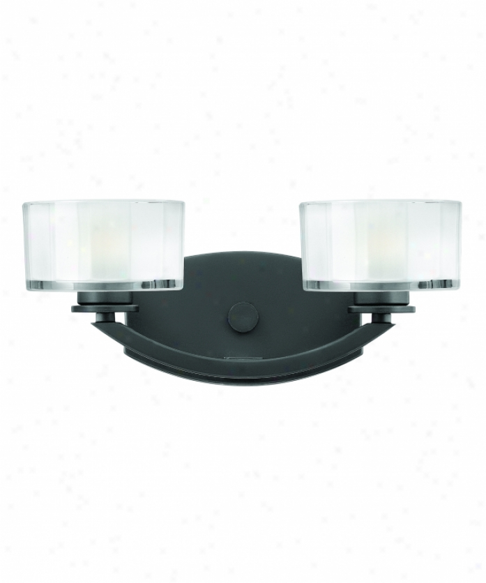 Hinkley Lighting 5592sk Meridian 2 Light Bath Vanity Light In Satin Black With Thick Faceted Clear Inside-etched Glass