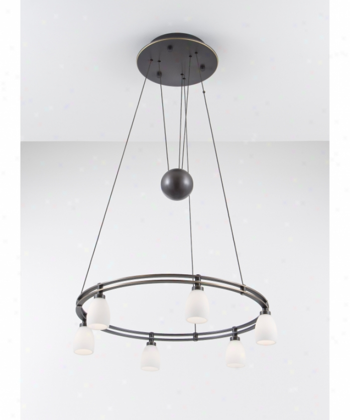 Holtkotter 5556hbobg5000 Counter Balance 6 Light Single Tier Chandelier In Give  Bdushed Old Bronze With Satin Of a ~ color Glass