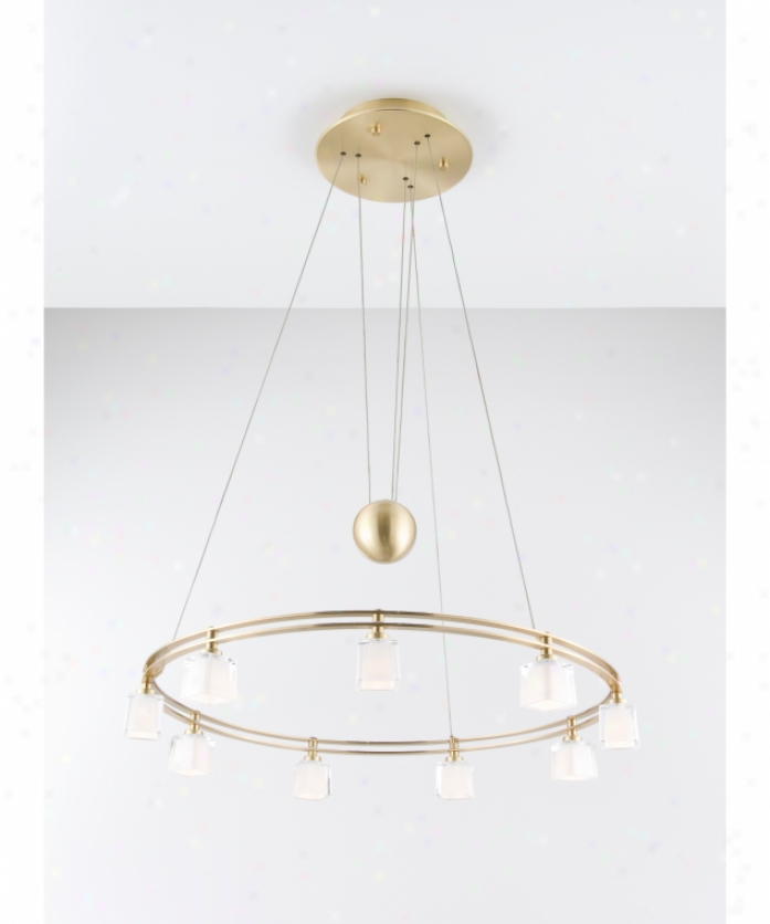Holtkotter 5559bbg5012 Counter Balance 9 Light Single Tier Chandekier In Brushed Brass With Krystall Sqaure Glass