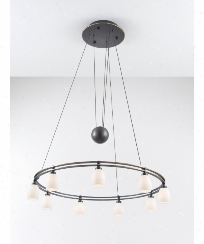 Holtkotter 5559hbobg5013 Counter aBlance 9 Light Sincere Tier Chandelier In Hand Brushed Old Bronze With Kreide Glass