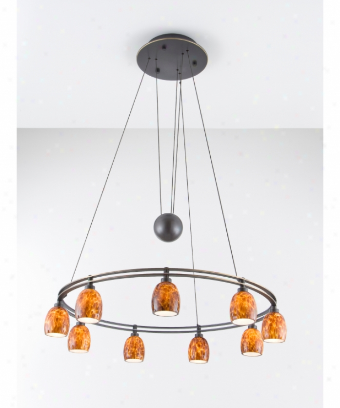 Holtkotter 5559hbobg5020 Counter Balance 9 Light Single Tier Chandelier In Hand Brushed Old Bronze With Sunset lGass