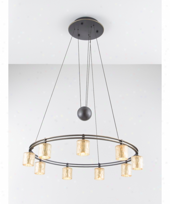 Holtkotter 5559hbobg5030 Contrary Balance 9 Light Single Tier Chandelier In Hand Brushed Old Bronze With Hammered Gold Glass