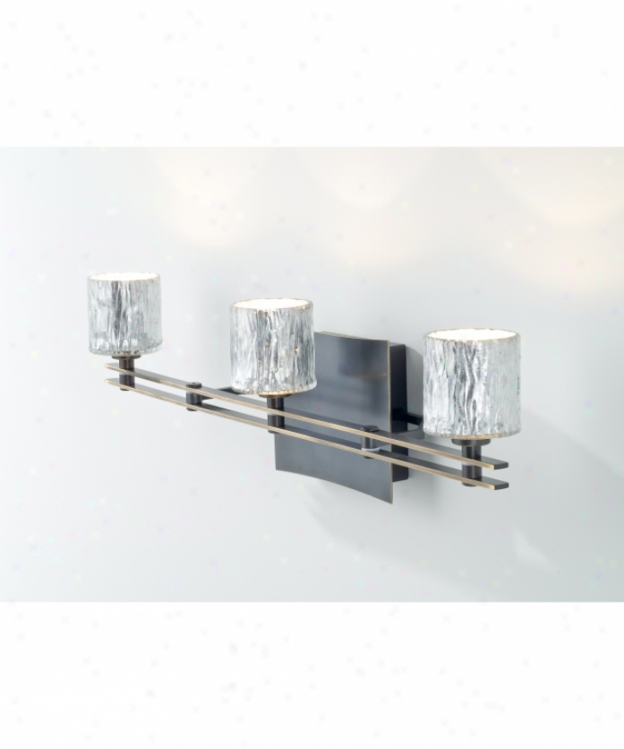 Holtkotter 5583hbong5031 Ludwig Series 3 Gossamery Bath Idle show Light In Hand Brushed Old Bronze With Hammered Silver Glass