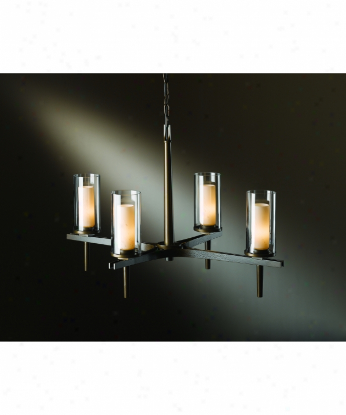 Hubgardton Forge 10-4303-03-zv323 Constellation 4 Light Single Tier Chandelier In Mahogany With Stone And Clear Glass