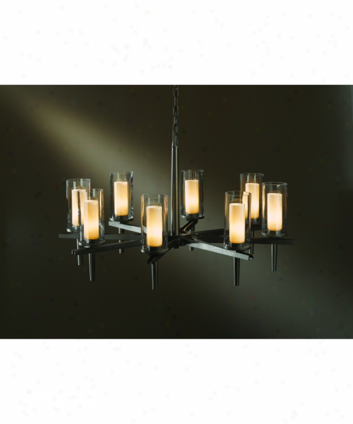 Hubbardton Forge 10-4305-20-zv323 Constellation 8 Light Single Tier Chandelier In Natural Iron With Stone And Clear Glass