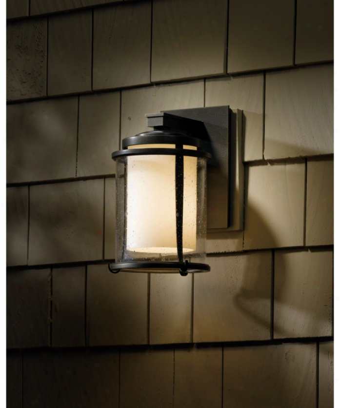 Hubbardton Forge 30-56051-7-zs296 Meridian 1 Light Outdoor Wall Light In Opaque Dark Smoke With Clear Seedy With Opal Glass