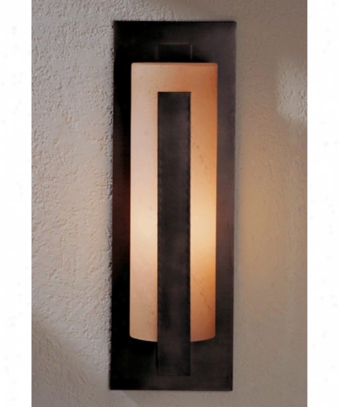 Hubbardton Furnace  30-7287-15-g37 Forged Vertical Bar 1 Light Ouutdoor Wall Light In Opaque Bronze With Opal Glass