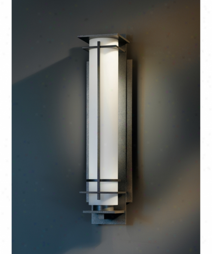 Hubbardton Forge 30-7880f-18-yd226 Subsequent to Hours Energy Smart 1 Light Outdoor Wall Light In Opaque Burnished Steel With Opa lGlass
