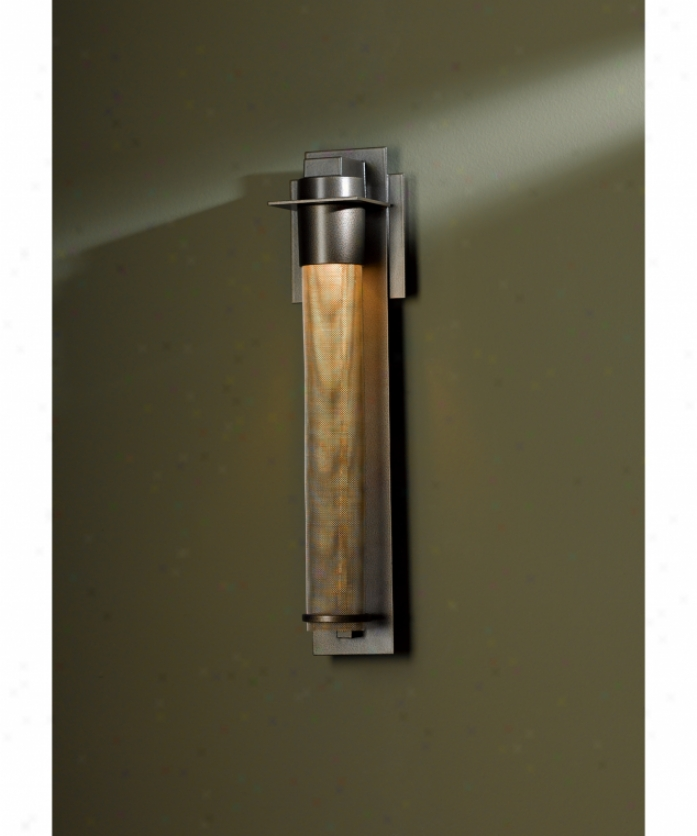 Hubbardton Fkrge 30-7910-13-zk220 Airis Dark Sky 1 Light Outdoor Wall Light In Opaque Mahogany With Stainless Steel Glass