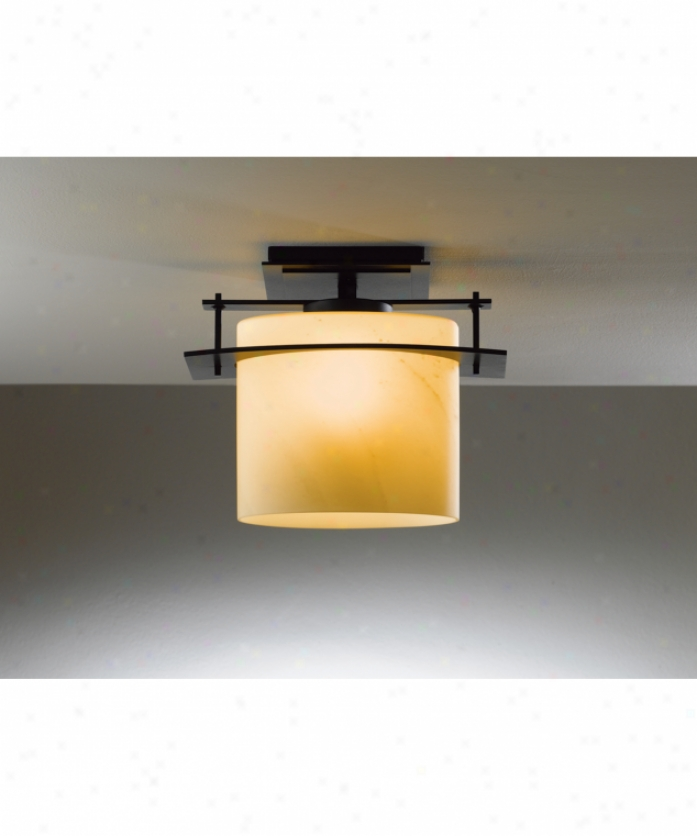 Hubbardton Forge 36-7525-17-h194 Arc Ellipse 1 Light Outdoor Flush Mount In Opaque Gloomy Smoke With Adamant Glass