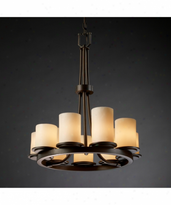 Judge Design Group Cndl-8766-10-ambr-nckl Dakota Candlearia 9 Light Sole Row Chandelier In Brushed Nickel With Amber Glass