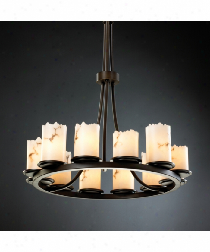 Justice Deeign Group Fal-8763-12-dbrz Dakota Lumenaeia 12 Light Single Tier Chandelier In Dark Bronze With Faux Alabaster Glass