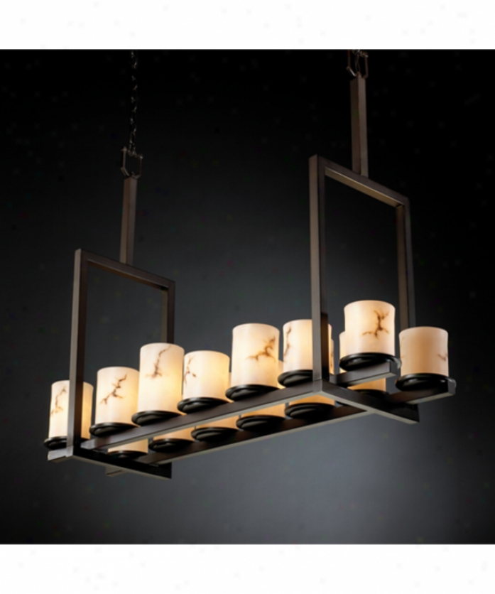 Justice Design Group Fal-8764-10-dbrz Dakota Lumenaria 14 Light Island LightI n Dark Bronze With Faux Alabaster Glass