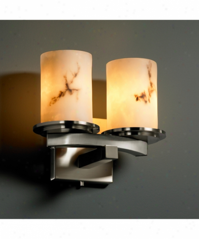Justice Design Group Fal-8775-10-nckl Dakota Lumenaria 2 Light Wall Sconce In Brushed Nickel With Faux Alabaster Glass
