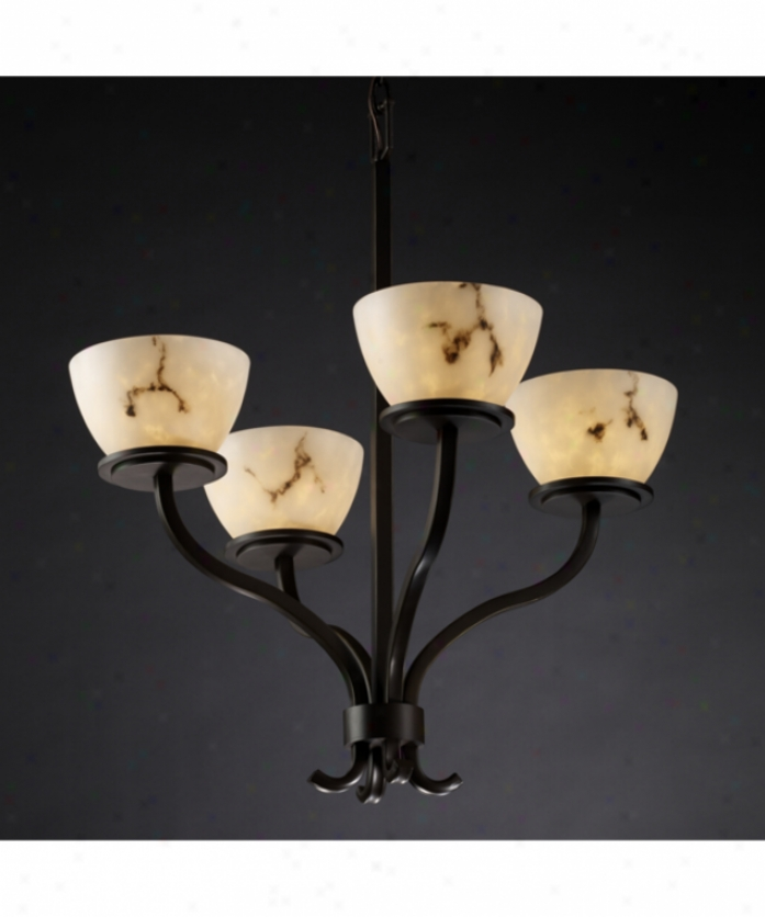 Justice Design Group Fal-8780-35-dbrz Sonoma Lumenaria 4 Light Single Row Chqndelier In Dark Bronze With Faux Alabaster Glass