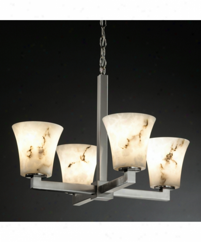 Justice Design Group Fal--8829-20-abrs Modular Lumenaria 4 Light Single Row Chandelier In Antique Brass With Faux Alabaster Glass