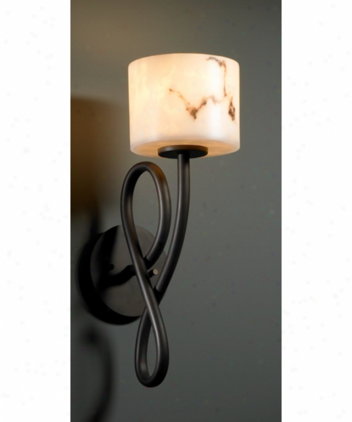 Justice Design Cluster Fal-8911-45-mblk Capellini Lumenaria 1 Light Wall Sconce In Matte Wicked With Faux Alabaster Glass