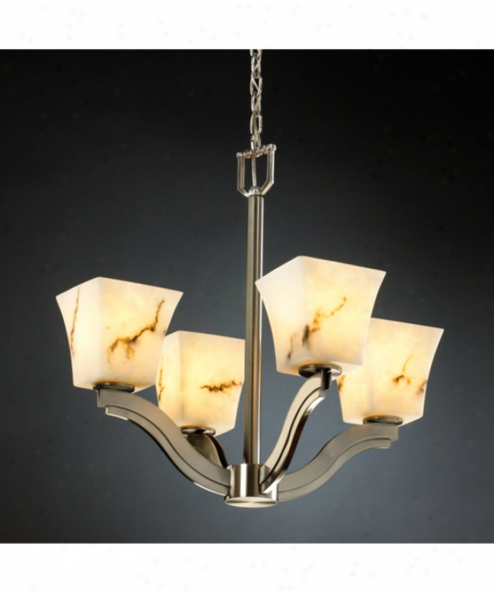 Justice Design Group Fal-8970-40-nckl Crook deflect Lumenarria 4 Light Single Row Chandelier In Brushed Nickel With Faux Alabaster Glsss