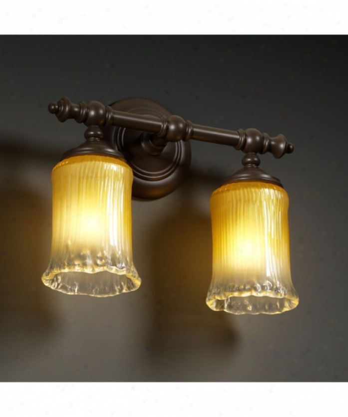 Justice Design Group Gla-8522-16-gldc-dbrz Tradition Veneto Luce 2 Light Bath Vanity Light In Dark Alloy of copper In the opinion of Gold Wclear Rim Glass