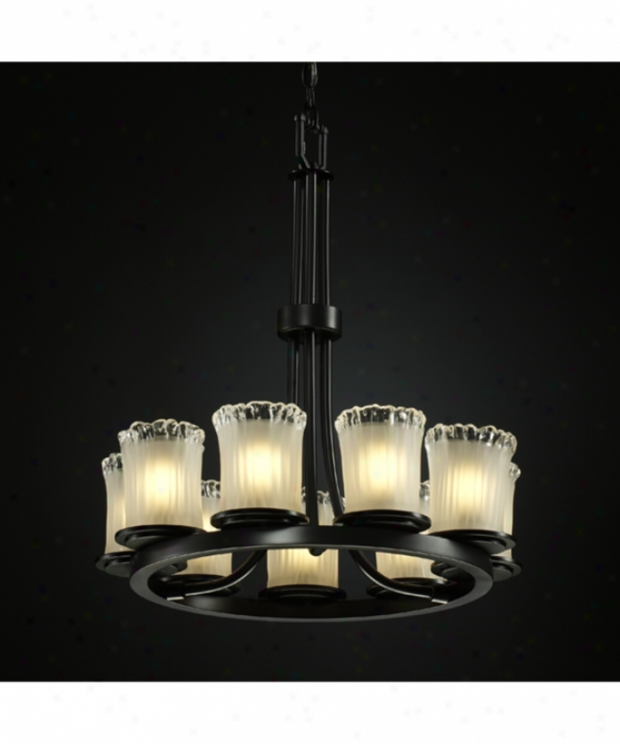 Justice Design Group Gla-8766-16-wtfr-mblk Dakota Veneto Luce 9 Light Single Tier Chandelief In Magte Black With White Frosted Glass