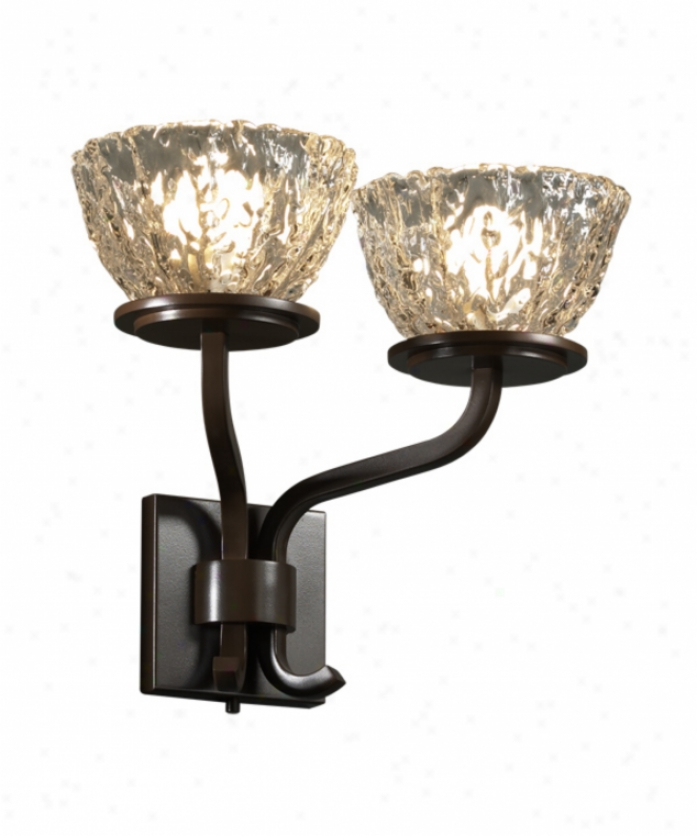 Justice Design Group Gla-8782-36-clrt-dbrz Sonoma Veneto Luce 2 Light Wall Sconce In Dark Bronze Upon Clear Textured Glass