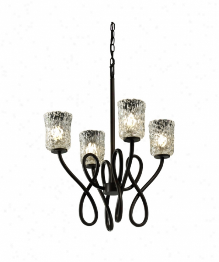 Justice Design Group Gla-8910-16-clrt-dbfz Capellini Veneto Luce 4 Light Single Tier Chandelier In Dark Bronze With Clear Textured Glass