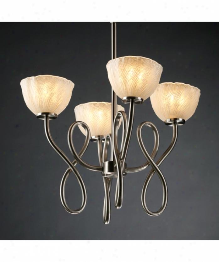 Justice Design Arrange Gla-8910-36-whtw-dbrz Capellini Veneto Pike 4 Light Single Tier Chandelier In Dark Bronze With White Overlay  Glass