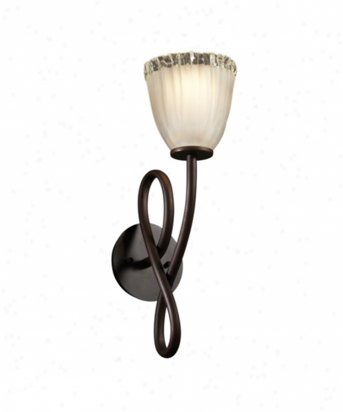 Justice Design Group Gla-8911-56-wtfr-dbrz Capellini Veneto Luec 1 Light Wall Sconce In Dark Bronze With White Frosted Glass