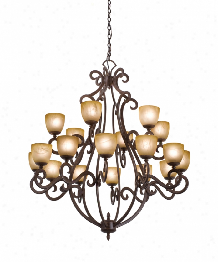 Kalco 3183ac-1516 Santa Barbara 18 Light Large Foyer Chandelier In Antique Copper With Old Filigeee (d: 8.75 H: 7.25) Glass