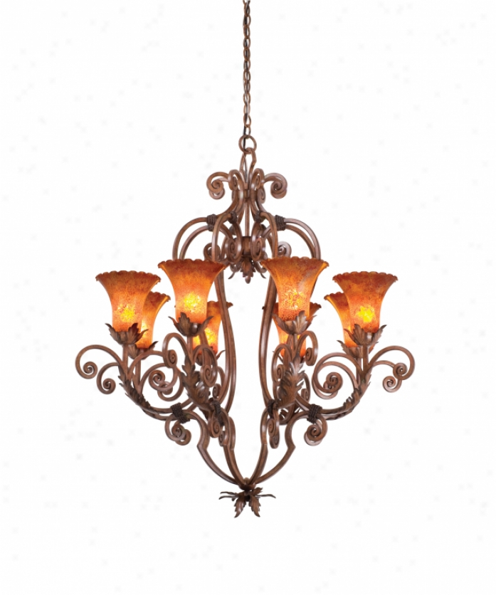 Kalco 3231ac-1516 Wellibgton 8 Light Single Tier Chandelier In Antique Copper By the side of Antique Filigree (d: 8.75 H: 7.25) Glass