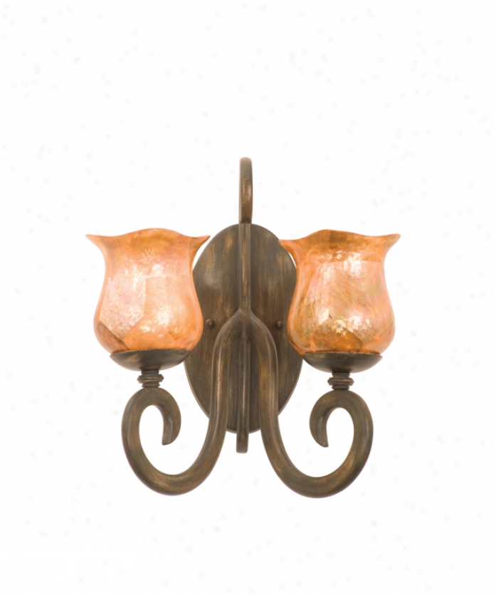 Kalco 3274ac-ns21 Santa Barbara 2 Light Wall Sconce In Antique Copper With Iridescent Shell (d: 4.5 H: 6) Glass