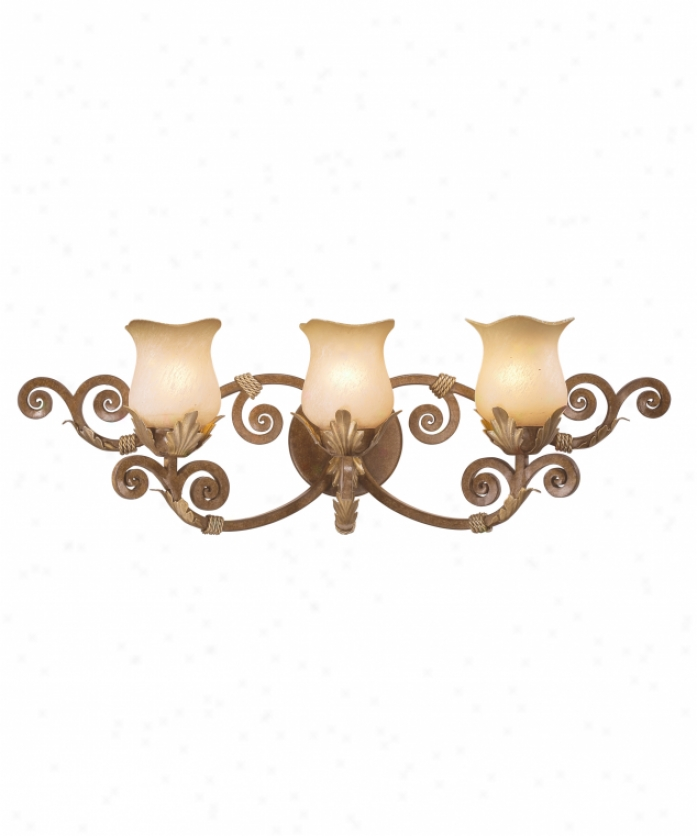 Kalco 3993ac-1427 Wellington 3 Light Bath Vanity Light In Anitque Copper With Fading-edge Taupe (d: 7.5 H: 5.125) Glass