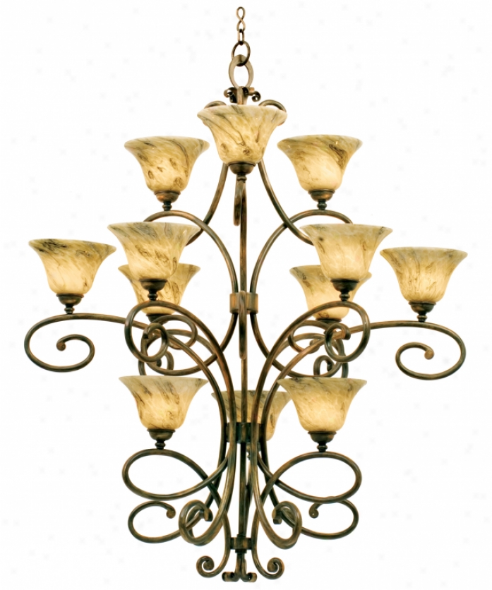 Kalco 5536to-ns14 Ameiie 12 Light Large Foyer Chandelier In Tortoise Shell With Irideecent Shell (d: 9.5 H: 4.5) Glass