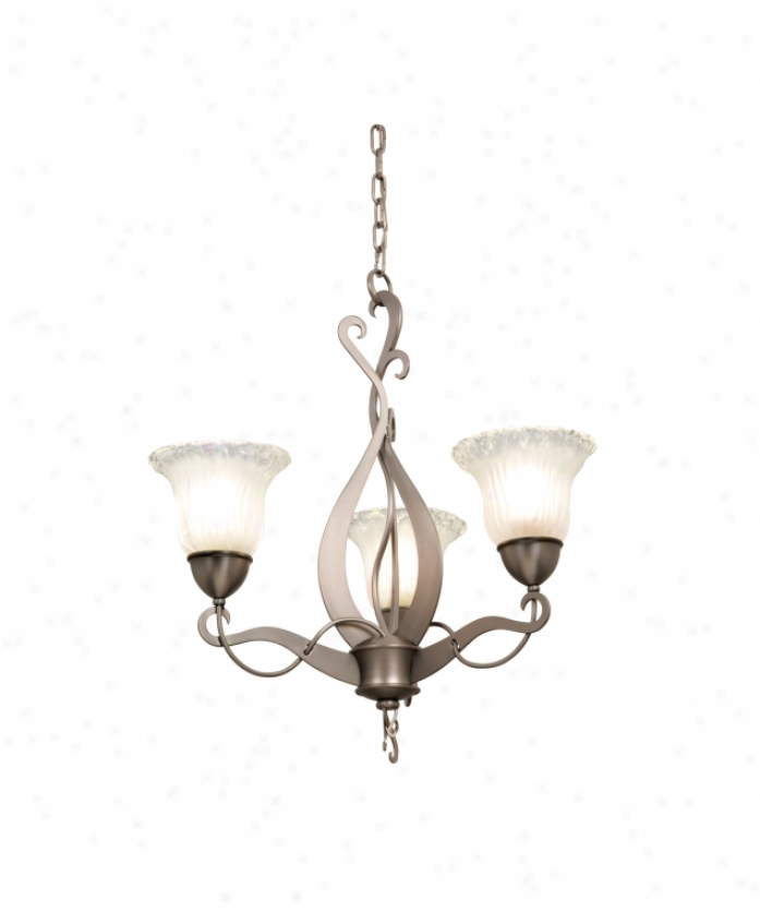 Kalco 5672ac-1404 Solstice 3 Light Sole Tier Chanddelier In Antique Copper With Neutral Swirl (d: 9.5 H: 5.5) Glass