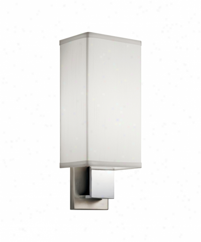 Kichler 10438nch Santiago Energy Smart  1Light Wall Sconce In Brushed Nickel And Chrome With Matte White Acrylic Diffuser Glass