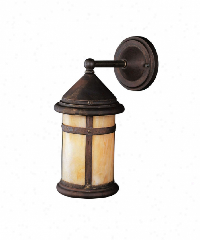 Kichler 10946cv Tularosa Energy Smart 1 Light Outdoor Wall Light In Canyon View With Honey Opalescent Panels Glass