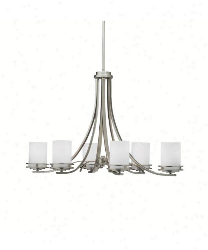 Kichler 1673ni Hendrik 6 Light Single Tier Chandelier In Brushed Nickel With Satin Etched Cased Opal Glass