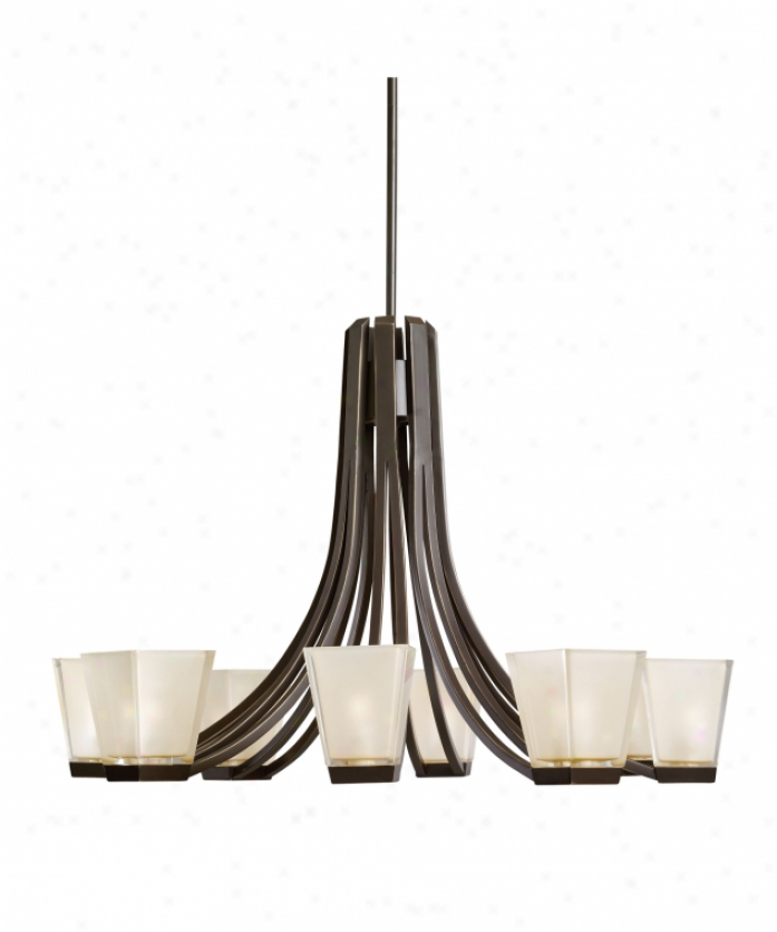 Kichler 1960zo Urban Chill 8 Light Single Tier Chandelier In Olde Bronze With Clear Polished Outside-satin Etched Inside Glass