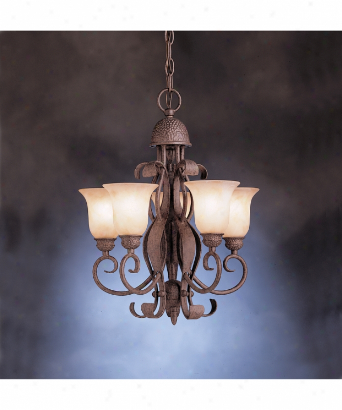 Kichler 2104oi High Country 5 Light Single Tier Chandelier In Olde Iron With Umbered Alabastdr Swirl Glass Glass