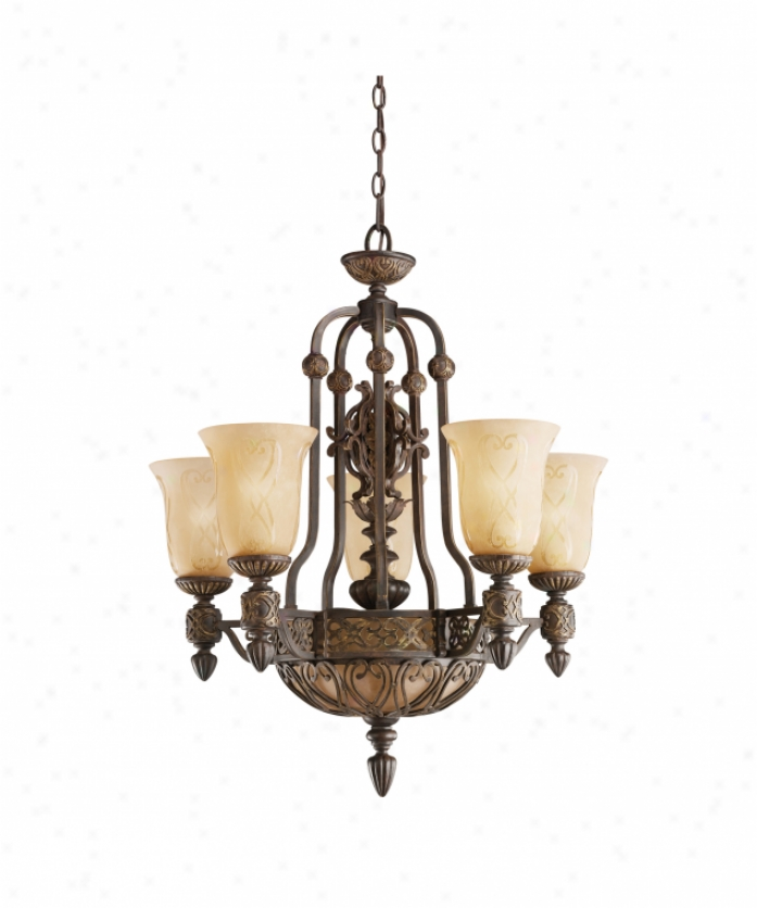 Kichler2 292ctz Sebastian 5 Light Single Tier Chandelier In Colton Bronze With Distressed Antique-etched Glass Glass