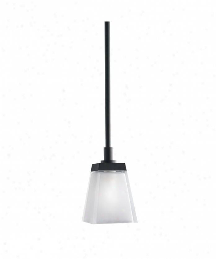 Kichler 2759bk Urban Ice 1 Light Mini Pendant In Black With Clear Polished Outside-satih Etched Inside Glass